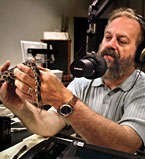 Jim Pease holds snake
