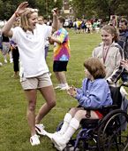 Lyndsey Medders with Special Olympians, 2005