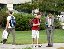 VP for student affairs Tom Hill offers directions on the first day of class