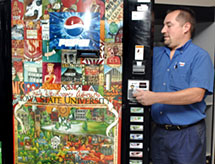 ISU 150th art on vending machines.